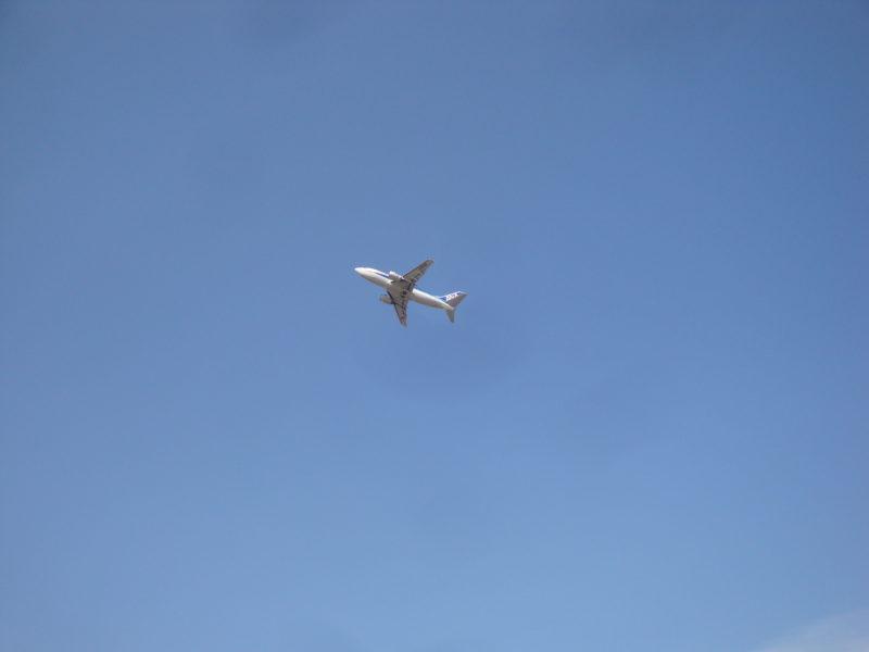 函館空港から飛び立つANA機