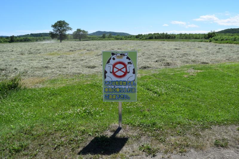 牧草地への車の乗り入れは禁止