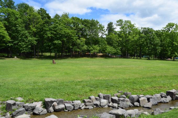 ヤッホーの森と遊水路の間は芝生広場