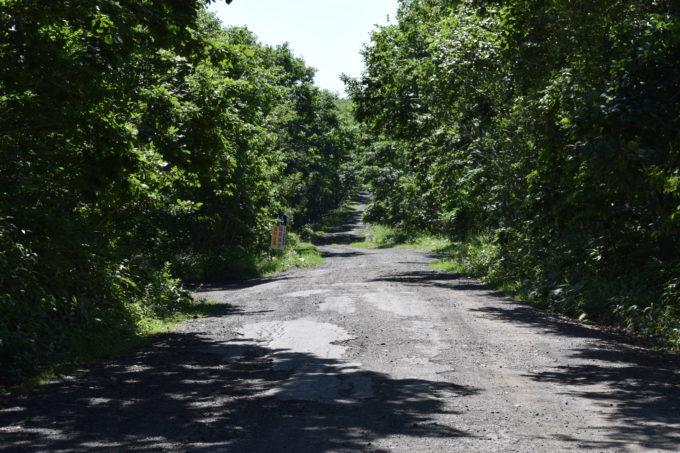 この先未舗装道路