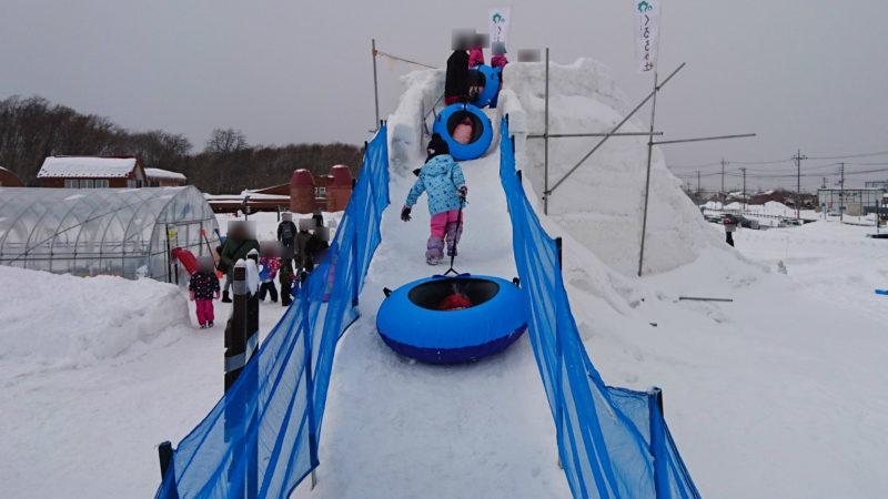 スノーチューブ専用滑り台の登り口