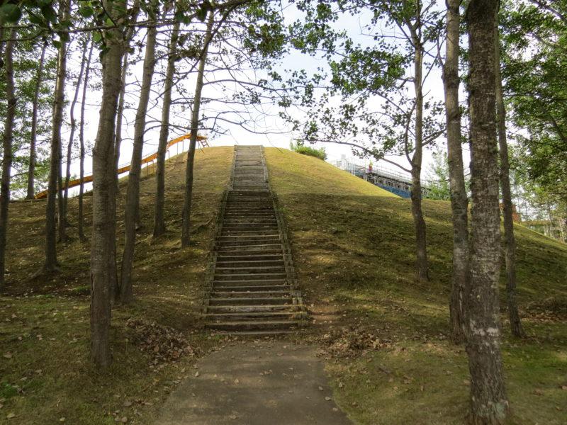 山の裏側に木の階段