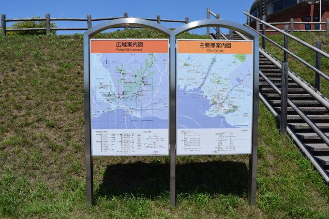 釧路湿原展望台がある釧路エリアの広域案内図と主要部案内図