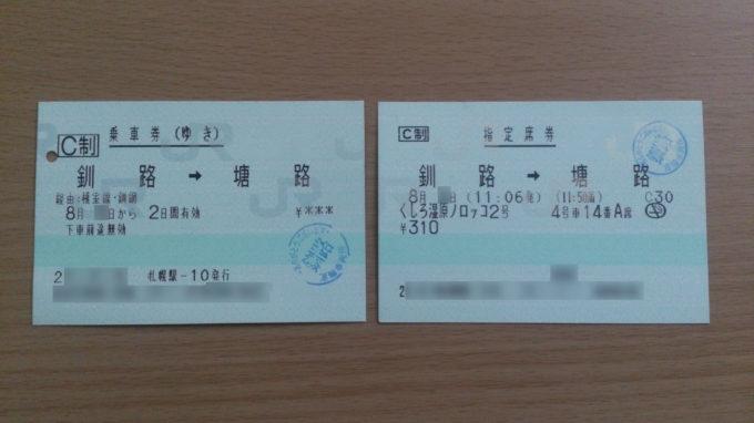 くしろ湿原ノロッコ号「塘路→釧路」乗車券・指定席券