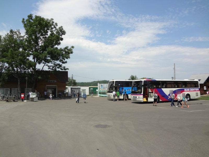 くしろ湿原ノロッコ号の到着に合わせて観光バスが到着