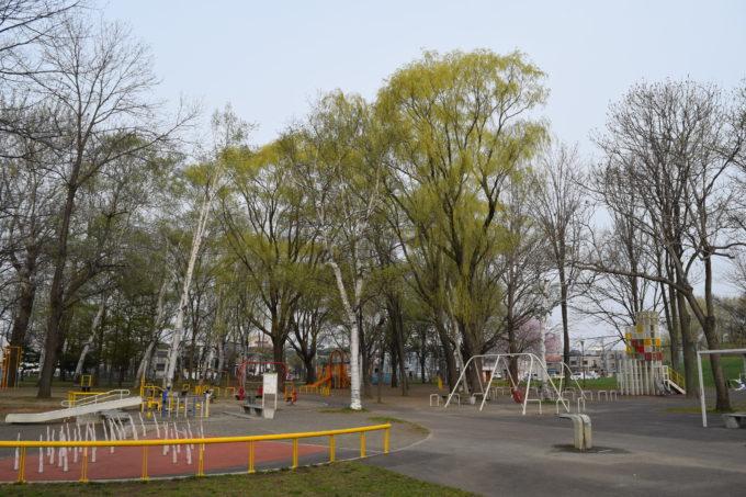 右側の「大きい子の遊具広場」と向かって左側の「小さい子の遊具広場」