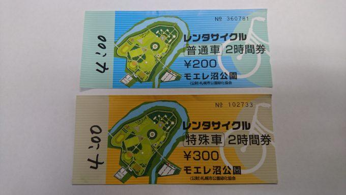 レンタサイクルのチケット