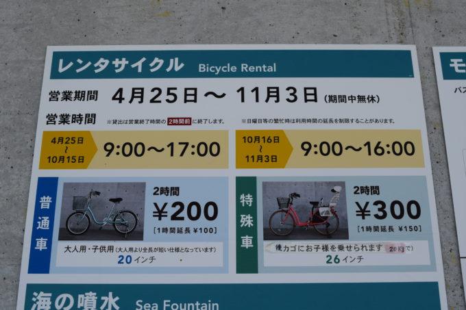 レンタサイクルの案内看板