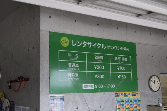 レンタサイクルの料金表