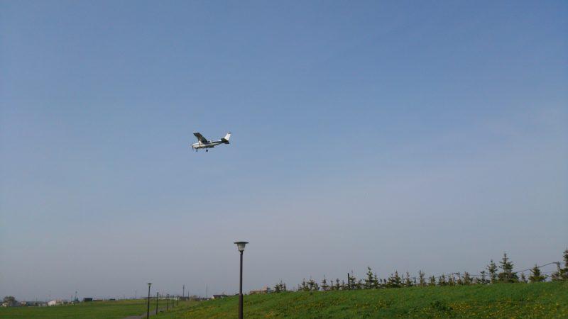丘珠空港方面に頻繁に飛行機が降り立ちます。
