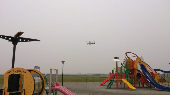 STVの取材ヘリコプター