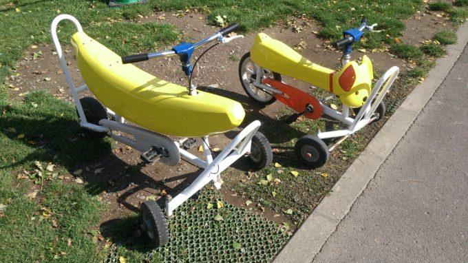 バナナ型と犬型のおもしろ自転車