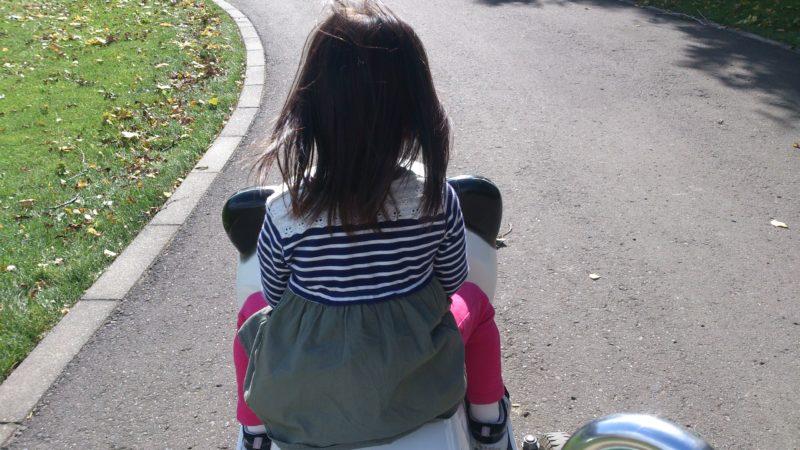 2人乗りのパンダ型のおもしろ自転車