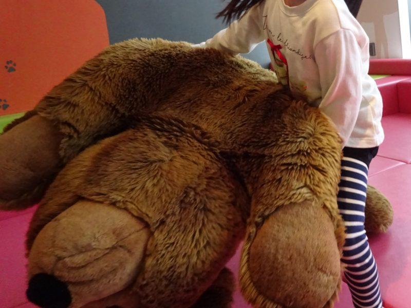 自分の体より一回り大きい熊のぬいぐるみ