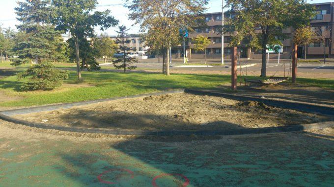 扇型の砂場