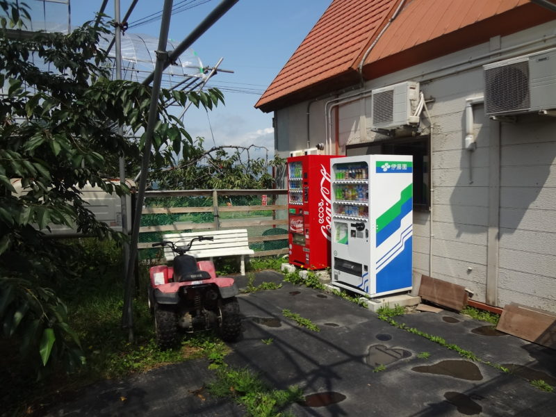 果樹園入園後すぐの自動販売機