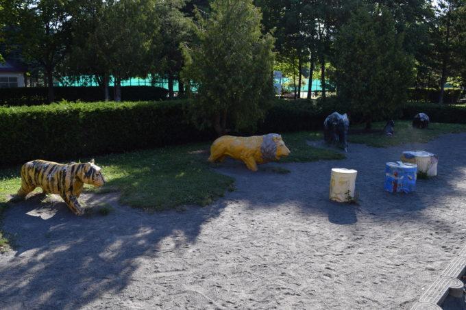 伏古公園動物のオブジェ