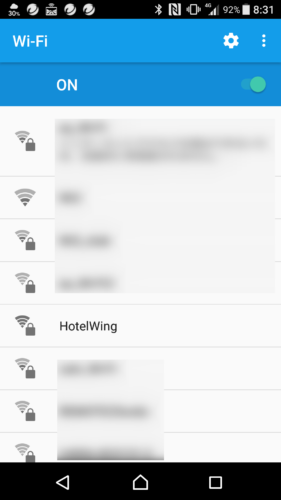 SSID「hotelwing」を選択。