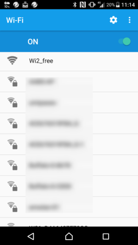 SSID「Wi2_free」を選択。
