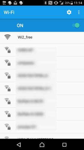 SSID「Wi2_free」を選択。