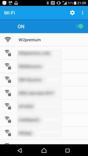 SSID「Wi2Premium」を選択。