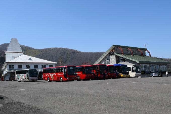 立ち並ぶ観光バスの車両
