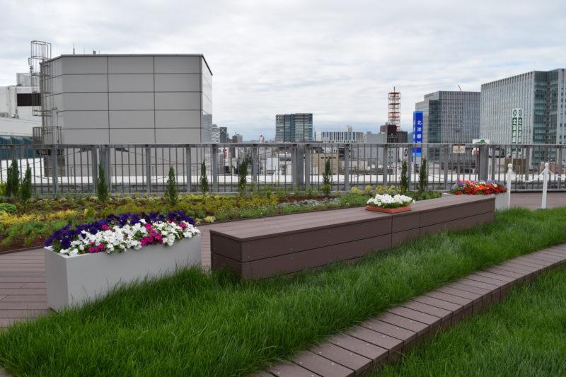 ベンチに座りながら札幌の風景を眺めることができます