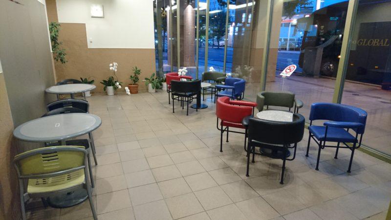 十勝ガーデンズホテルガーデンズカフェに上がる階段の前にあるスペース