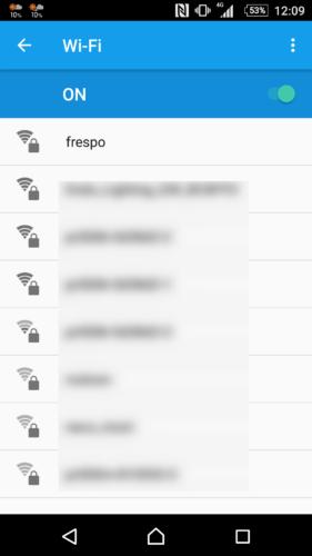 SSID「frespo」を選択。