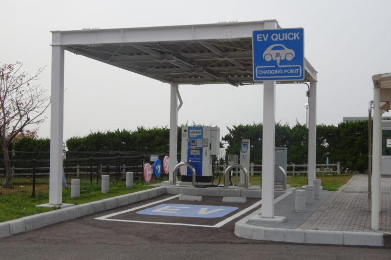 有珠山SA上り設置のEV急速充電スタンド(電気自動車充電スタンド)