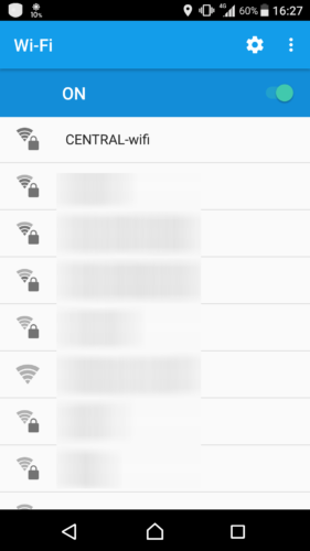 SSID「CENTRAL-wifi」を選択。