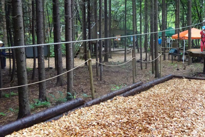 参加者全員で最後に練習用コースにてジップスライドで滑り降りる練習