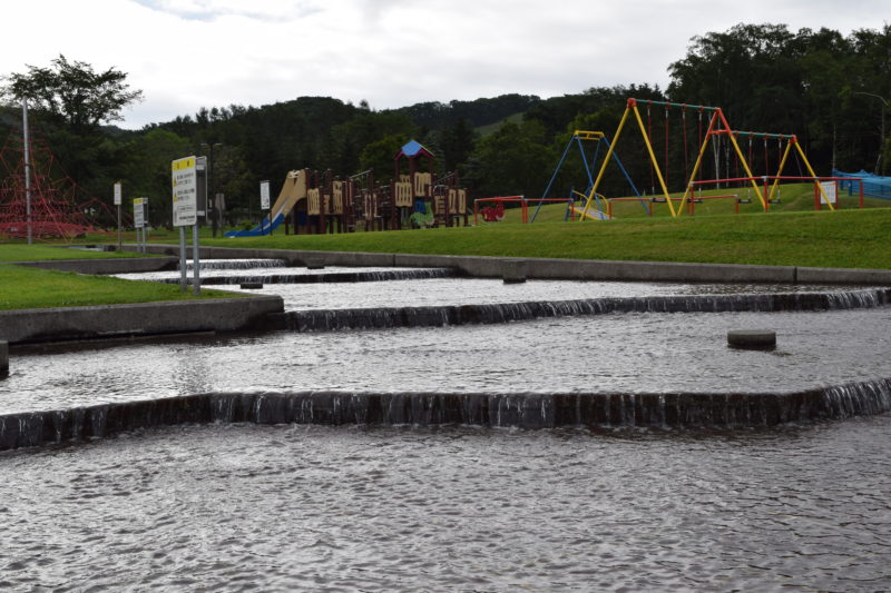 遊水路は段差があり水が流れていきます