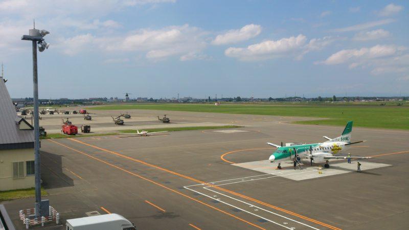 2015年当時の札幌丘珠空港駐機場と陸上自衛隊丘珠駐屯地
