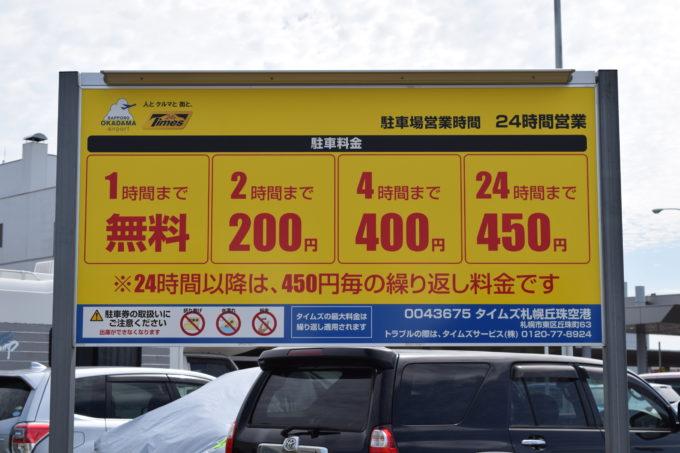 タイムズ札幌丘珠空港の駐車料金