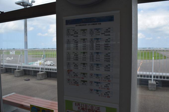 札幌丘珠空港のフライトインフォメーション(発着時刻表)