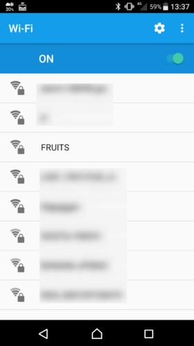 SSID「FRUITS」を選択。