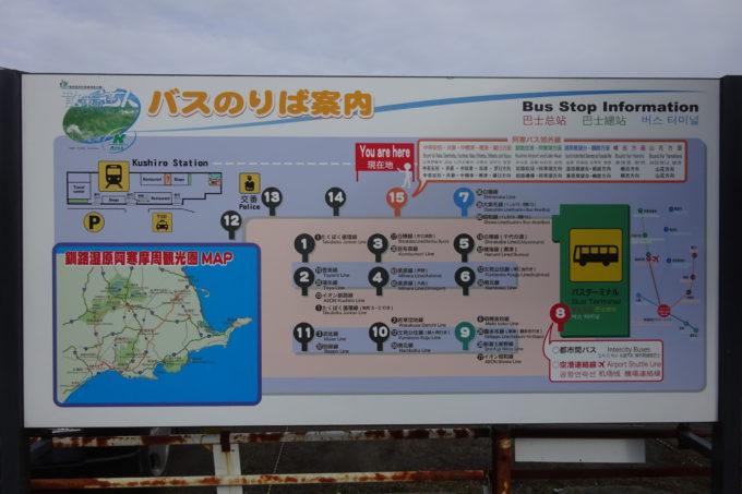 釧路駅前バスターミナルバス乗り場案内