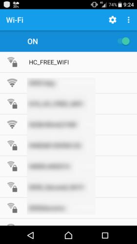 SSID「HC_FREE_WIFI」を選択。