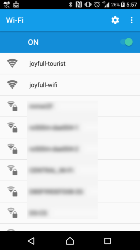 SSID「joyfull-wifi」を選択。