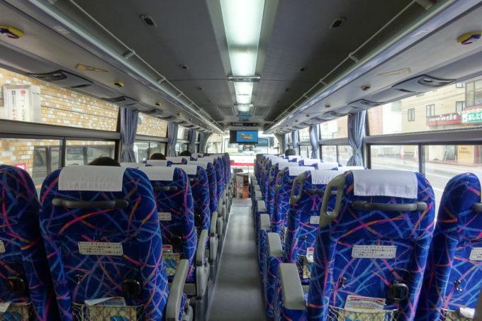 新千歳空港連絡バス(北海道中央バス)の車内後方から車内前方