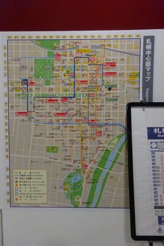 中央バスが運行する新千歳空港連絡バスの札幌中心部マップ
