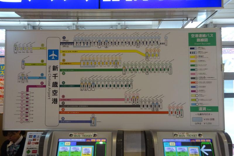 新千歳空港連絡バス路線図