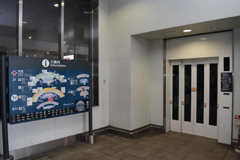 新千歳空港連絡バス国内線降り場にあるエレベーター