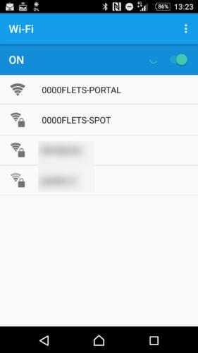 SSID「0000FLETS-PORTAL」を選択。
