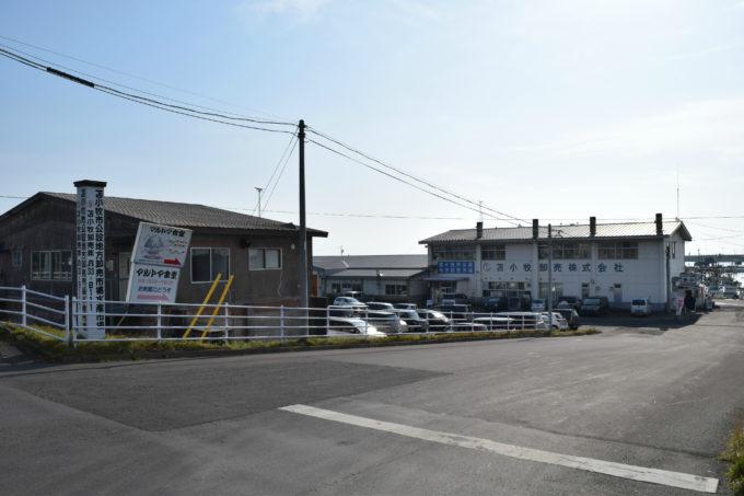 「苫小牧市公認地方卸売市場」と「苫小牧卸売株式会社」の建物