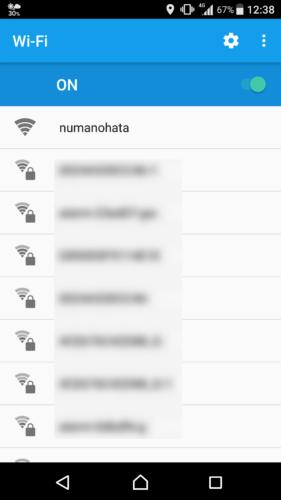 SSID「numanohata」を選択。