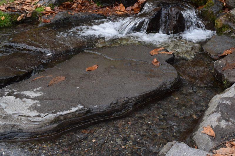 じゃぶじゃぶと水が流れる岩場