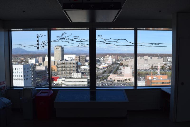 苫小牧市役所展望回廊の苫小牧市眺望(北西方面)
