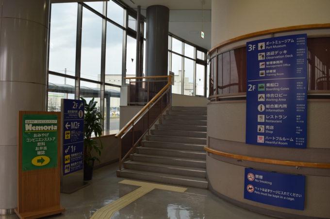苫小牧西港フェリーターミナル2Fフロアへの階段